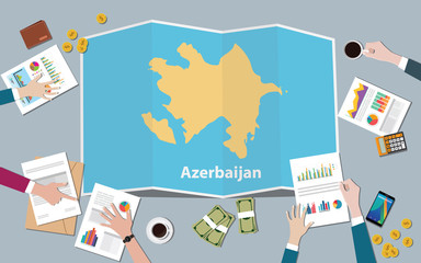 azerbaijan country growth nation team discuss with fold maps view from top