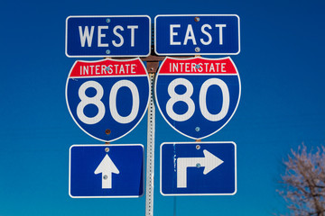 NEBRASKA - Interstate 80 East and West sign points to entrance to Interstate on ramp