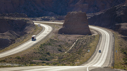 MAY 23, 2017 Interstate Highway 70, near Colorado and Utah border shows a long winding road