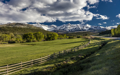 "APRIL 27, 2017 - Ralph Lauren's ""Double RL"" Ranch with Rail Fence along highway 62 in San Juan Mountains, near Ridgway and Telluride Colorado"