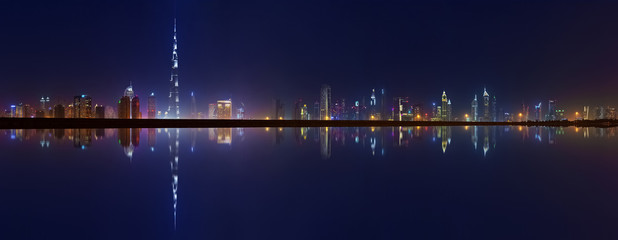 Dubai Towers panoramic view at night