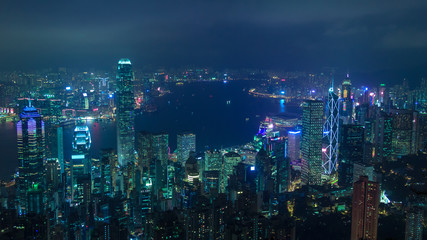 Cyberpunk Hong Kong view on Victoria Bay