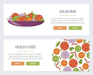 Set web banners for salad bar. Flat design. Vector illustration.
