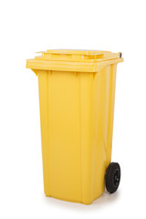 Empty yellow recycling bin