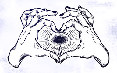 Two hands heart sign with black empty evil eye.