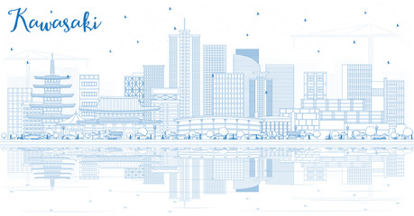 Outline Kawasaki Japan City Skyline with Blue Buildings and Reflections.