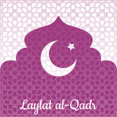 Laylat al-Qadr. Islamic religion holiday. Symbolic silhouette of the mosque. Crimson shades of color. White background. Paper style. Moon and star. Background pattern of arabesque
