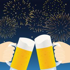 ビールと花火 乾杯