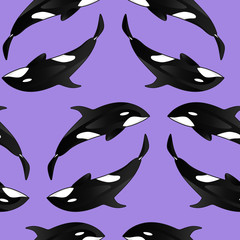 Seamless texture with Killer whales. Repeating background. Tile pattern. Can be used as wallpaper, desktop, wrapping, fabric or background for your blog, covers, cards.