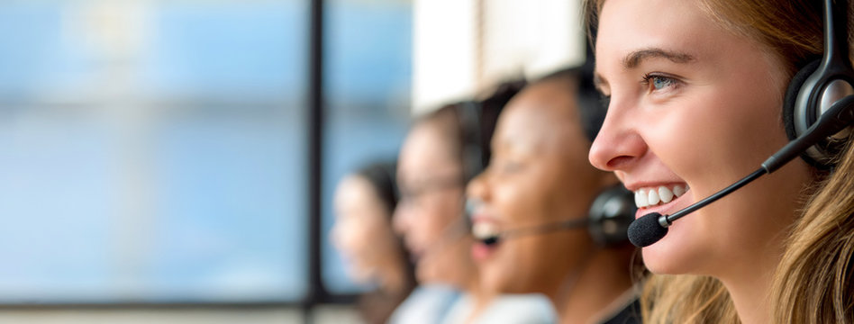Woman customer service agents working in call center