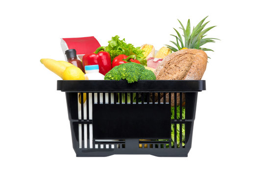 Black shopping basket full of food and groceries,