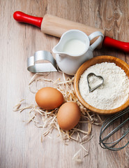 Baking ingredients - flour, eggs and pin