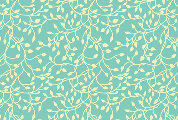 Yellow green vines on blue background in a climbing ivy vector design that is hand drawn in a cute elegant pattern.The colors can be changed.