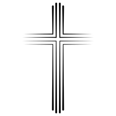 Christian Catholic cross icon flat design, vector cross icon baptism. Abstract linear christian crucifix