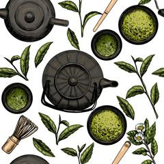 Japanese tea ceremony. Matcha tea. Vector seamless pattern