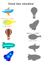 Find the shadow game with pictures of air transport for children, education game for kids, preschool worksheet activity, task for the development of logical thinking, vector illustration