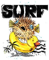 Cute cartoon fish.. Surf vintage hand drawn text. sea animal watercolor illustration. children's summer holidays background. T-shirt kids design template