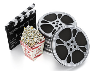 Vintage popcorn, clapboard and film slate isolated on white. 3D illustration