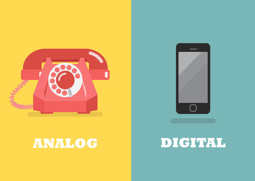Retro phone in Analog Age and modern phone in Digital Age