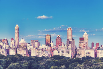 New York City Upper East Side skyline over the Central Park, color toned picture, USA.