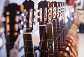 row of new acoustic guitars in music shop