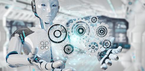 White humanoid robot using digital gears 3D rendering