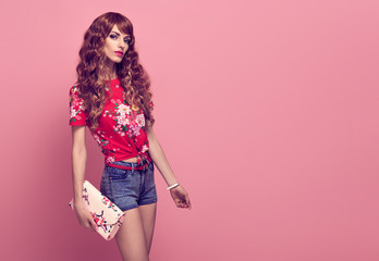 Fashion Young woman, Summer Outfit. Wavy Hairstyle