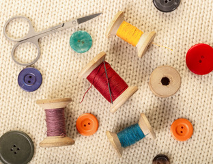colorful threads and buttons