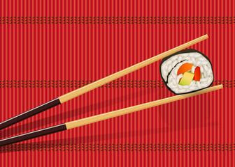sushi - japon - riz - baguette - cuisine, japonaise, restaurant, japonais, fond, menu, présentation