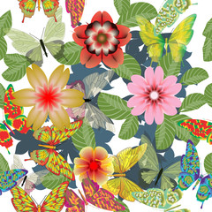 Seamless floral pattern with tropical flowers, butterflies on a white background