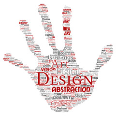 Vector conceptual creativity art graphic identity design visual hand print stamp word cloud isolated background. Collage of advertising, decorative, fashion, inspiration, vision, perspective modeling