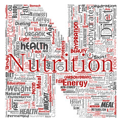 Vector conceptual nutrition health diet letter font N word cloud isolated background. Collage of carbohydrates, vitamins, fat, weight, energy, antioxidants beauty mineral, protein medicine concept