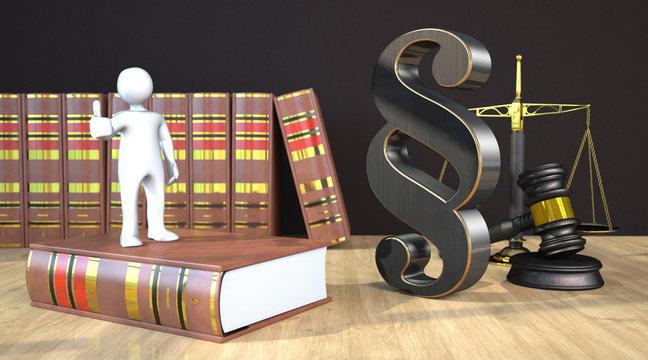 Manikin Ok Gavel Balance Law Book Paragraph