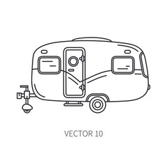 Line vector icon retro tourism auto trailer. Classic 1950s style. Nostalgia antique automobile family camping. Summer travel vacation. Vintage cartoon car. Highway. Garage. Illustration for design.