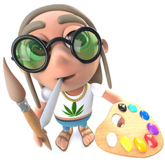 3d Funny cartoon hippy stoner character painting with a paintbrush and palette