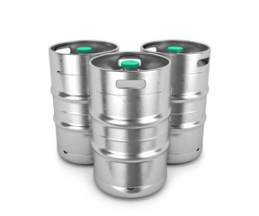 Beer metal kegs on a white background. 3D illustration