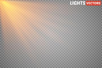Golden sun rays and beams isolated. Warm light. Vector illustration
