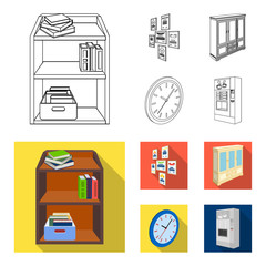 Cabinet, shelving with books and documents, frames on the wall, round clocks. Office interior set collection icons in outline,flat style isometric vector symbol stock illustration web.