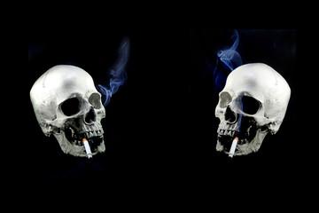 humal skull smoking to die, no smoking day, smoking kill your self, on black background