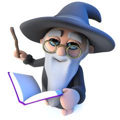 3d Funny wizard magician character waving his wand at his magic book of spells