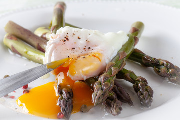 Poached Egg on Asparagus with Pepper corn Seasoning