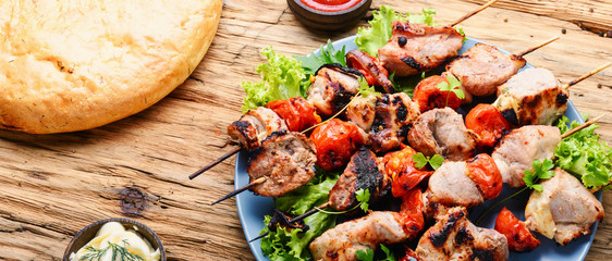 Shish kebab of pork