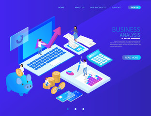 isometric accountant workspace. vector illustration