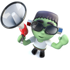 3d Funny cartoon frankenstein monster character using a megaphone