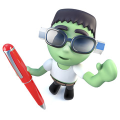 3d Funny cartoon frankenstein monster character writing with a pen