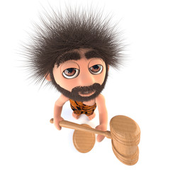 3d Funny cartoon stoneage caveman character holding an auction