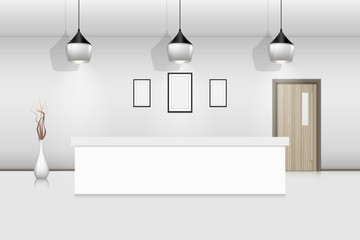Reception counter and interior decorative, Vector, Illustration