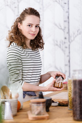 Selfemployed woman packing bio products