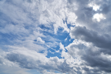 Blauer Himmel mit vielen weißen Wolken
