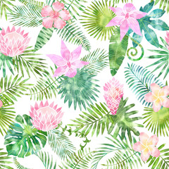 Watercolor seamless pattern with tropical leaves on white background